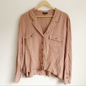 Dynamite Pink Taupe Button-up Collared Shirt | XL